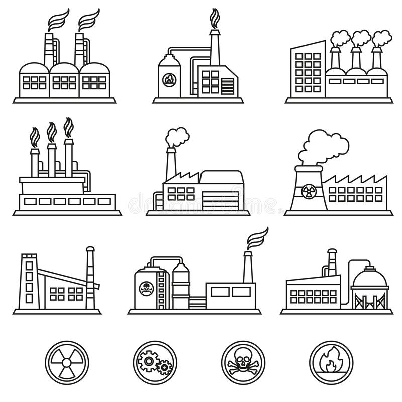 Industrial building factory and power plants icon set. Thin line style stock vector. royalty free illustration