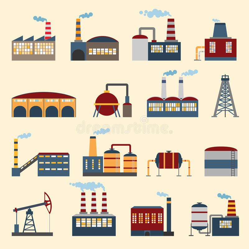 Industrial building icons. Industrial building factories and plants icons set vector illustration vector illustration