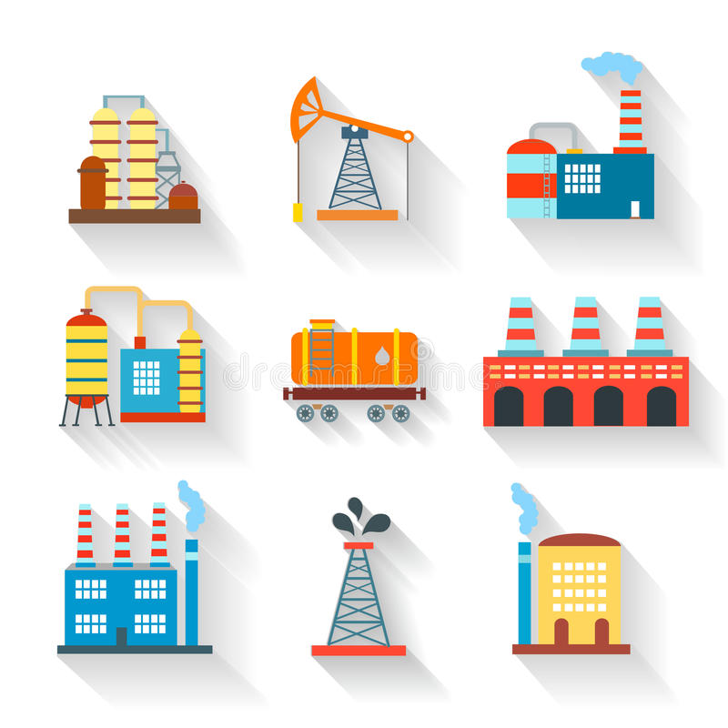 Industrial and Building icons flat style, vector stock illustration