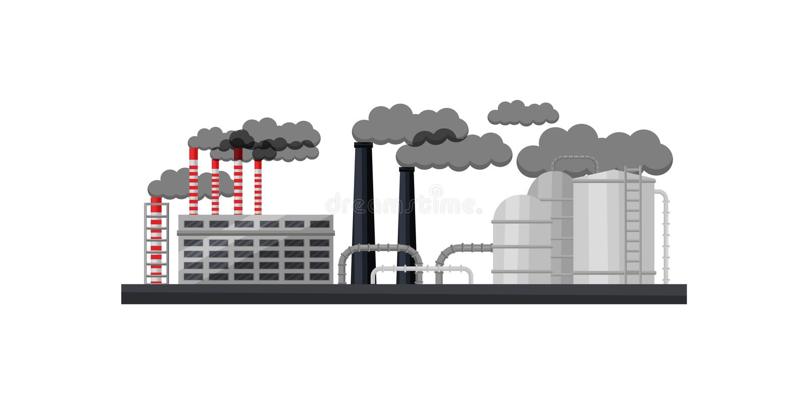 Industrial building, smoking chimneys, metal pipes and large cisterns. Manufacturing factory. Flat vector design. Industrial building, smoking chimneys, metal vector illustration