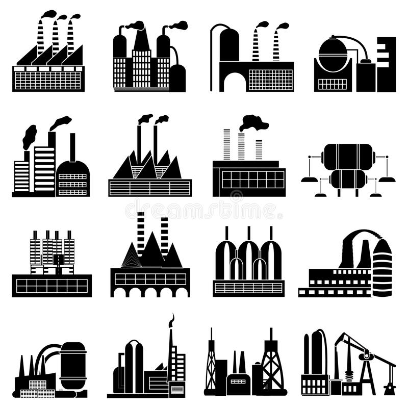 Industrial buildings icons set stock illustration
