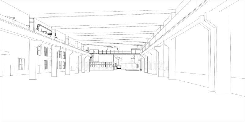 Industrial buildings outline vector illustration