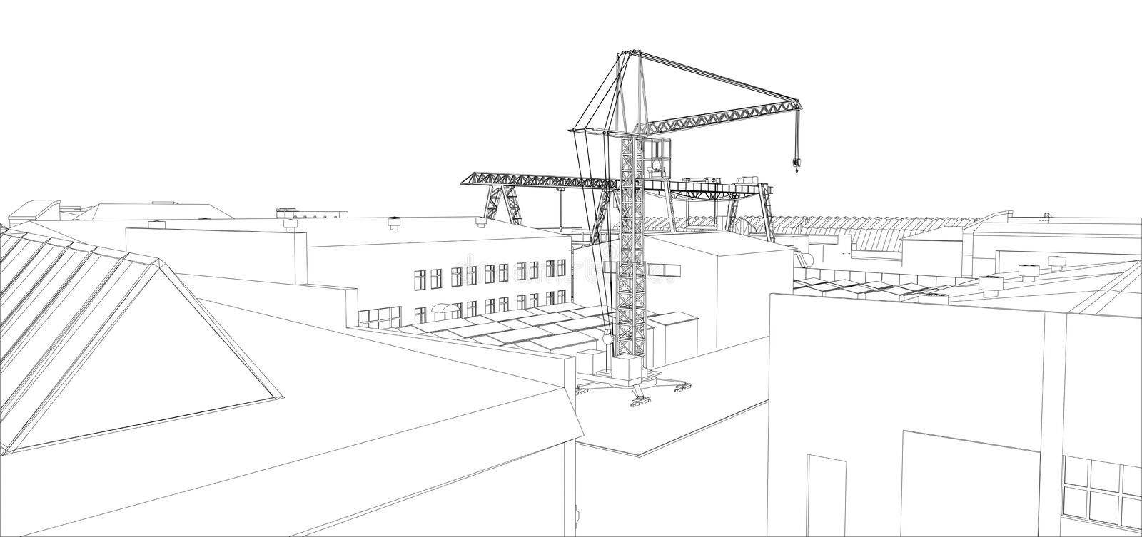 Industrial buildings outline royalty free illustration
