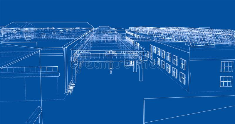 Industrial buildings outline stock illustration