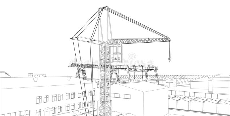 Industrial buildings outline vector illustration