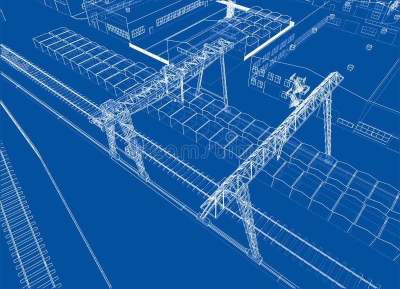 Industrial buildings outline stock illustration