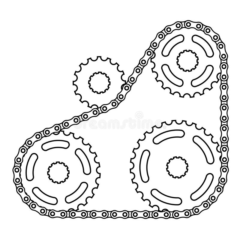 Industrial Chain Sprocket Silhouette Royalty Free Stock Images