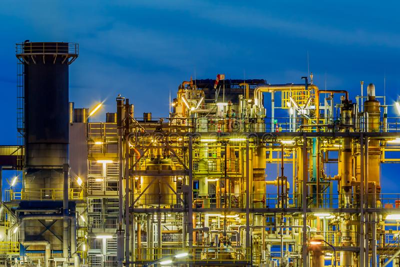 Industrial Chemical plant framework profile detail at night royalty free stock image