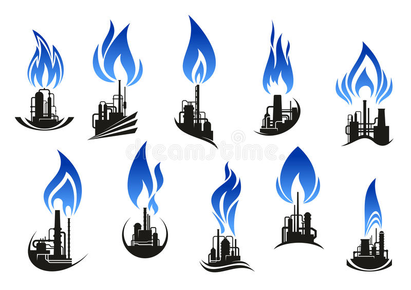 Industrial chemical plants with blue flames. Industrial chemical plant icons with chimneys, pipes and tank storages black silhouettes, supplemented by curved royalty free illustration
