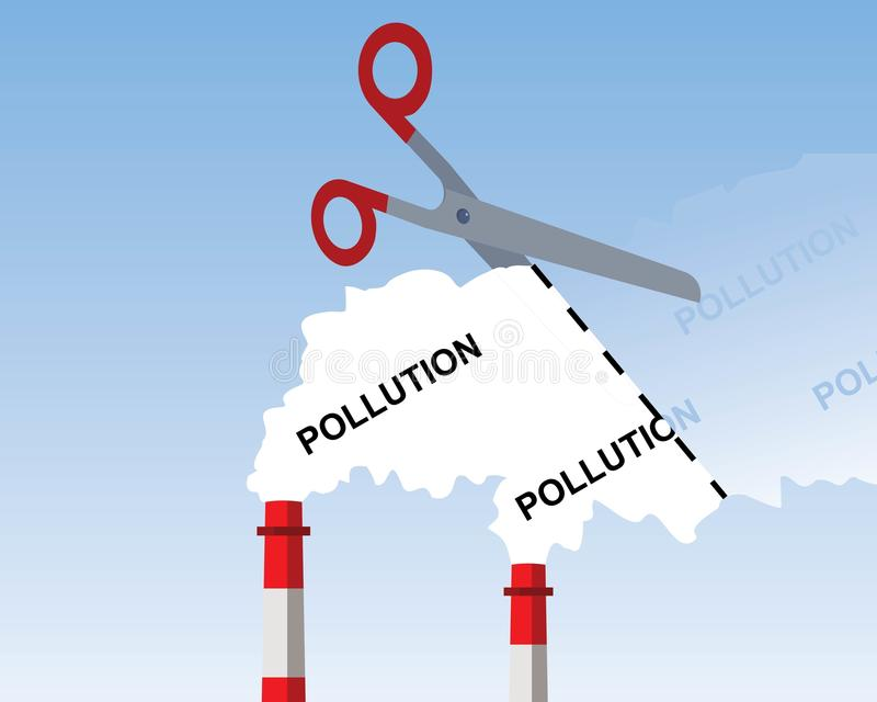 Industrial chimney smoke, cutting pollution concept stock illustration