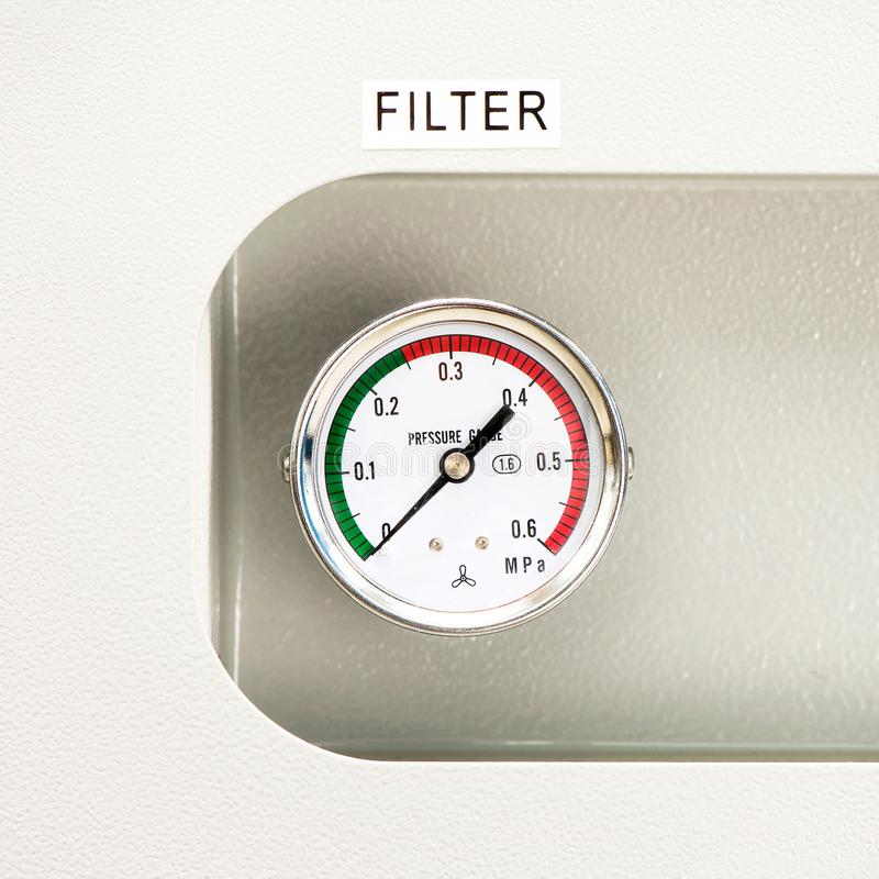 Industrial circle thermometer with temperature gauge. Arrow on z royalty free stock photos