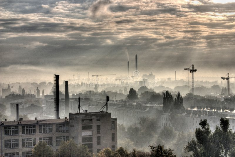 Industrial City - Moonscape. Cityscape of Lodz, industrial city in Poland, Europe royalty free stock photos