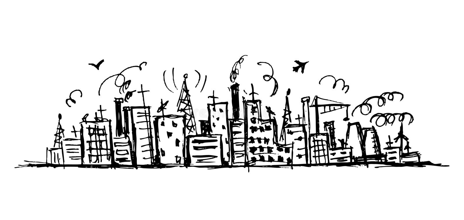 Industrial cityscape, sketch drawing royalty free illustration