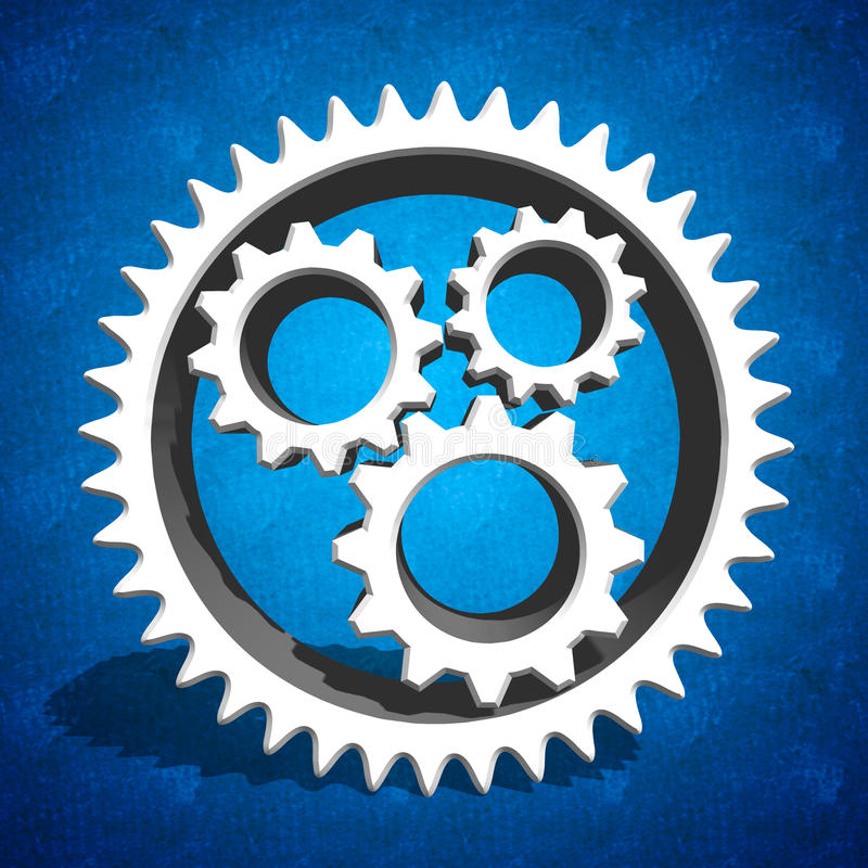 Industrial cogs gears on blue background. Extruded white gears with shadow on blue background royalty free stock photography