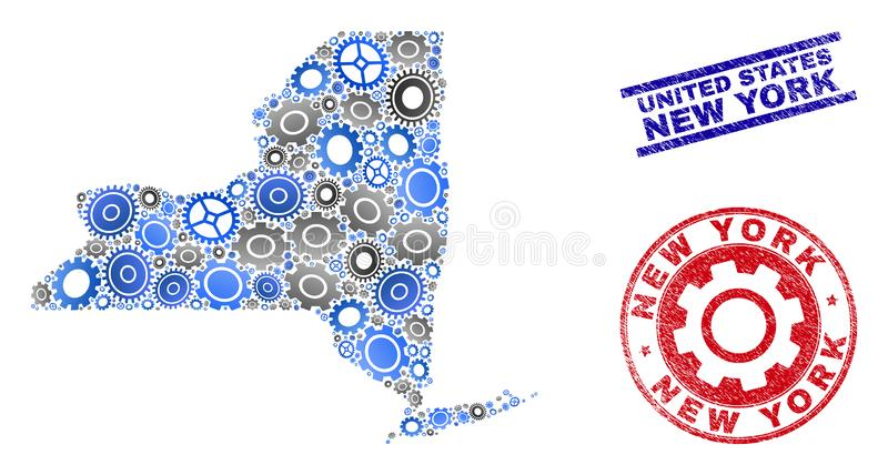 Industrial Collage Vector New York State Map and Grunge Stamps stock illustration