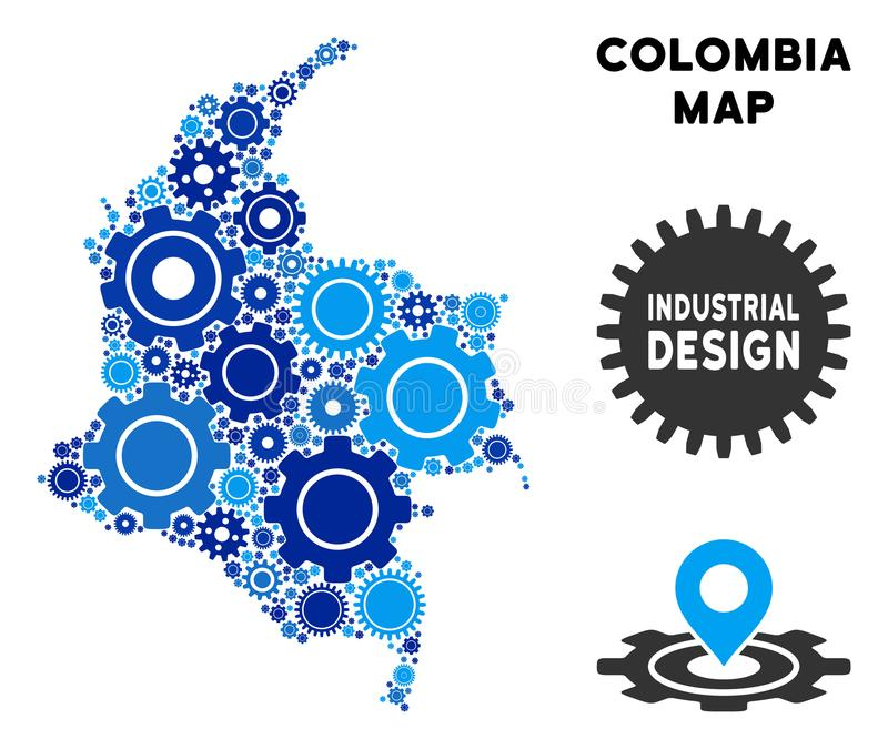 Mosaic Colombia Map of Gears vector illustration