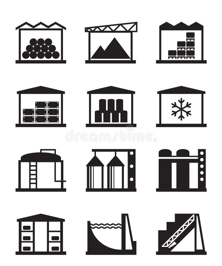 Download Industrial And Commercial Warehouses Stock Vector - Illustration of reservoir, building: 32716821