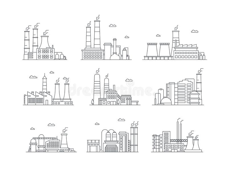 Industrial complex color icons set. Manufacturing plants isolated vector illustrations. Factory buildings and mass stock illustration