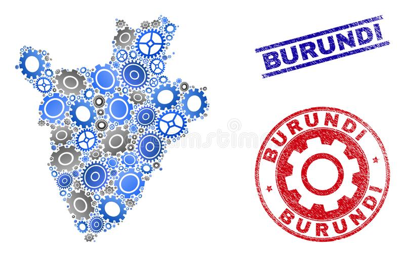 Industrial Composition Vector Burundi Map and Grunge Stamps vector illustration