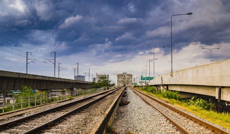 Industrial concept background. Railroad travel, railway tourism. Blurred railway. Transportation stock photo