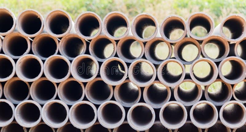Industrial concrete pipes. Concrete tubes small radius.  royalty free stock photos