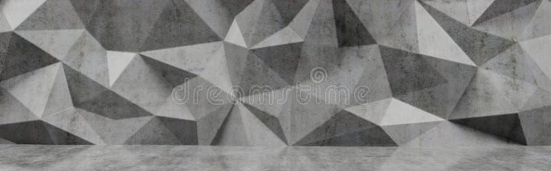 Concrete polygonal geometric wall, 3D render. Industrial concrete polygonal geometric wall, 3D render illustration royalty free illustration