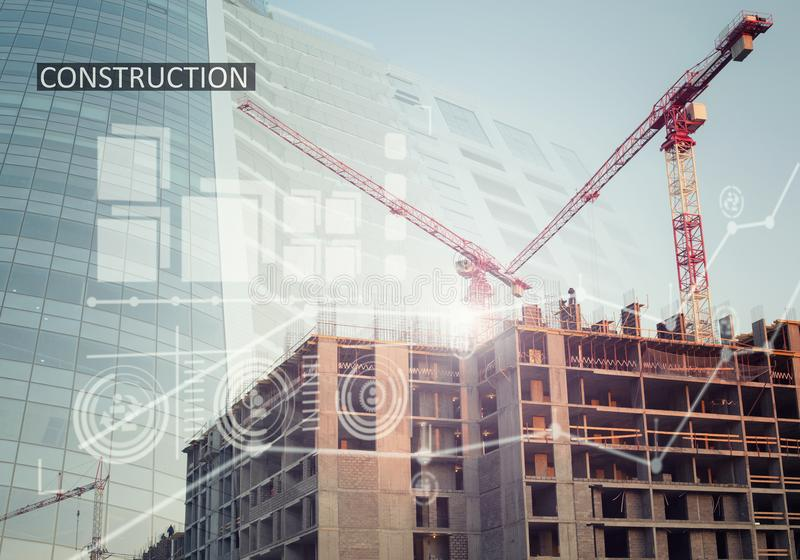 Industrial construction collage with charts. Collage with construction plans and a modern building stock photos