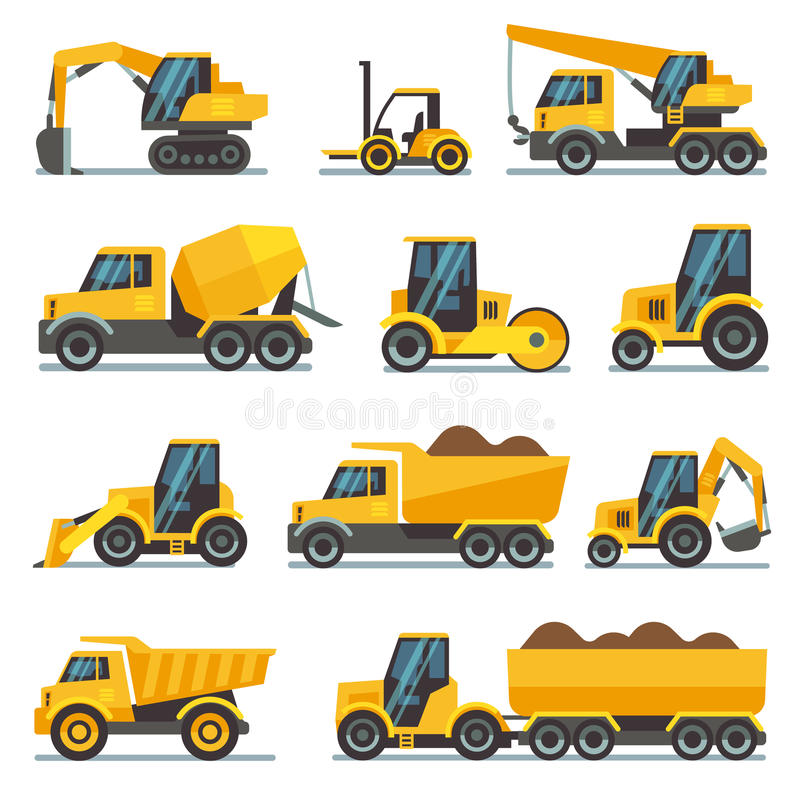 Industrial construction equipment and machinery flat vector icons stock illustration