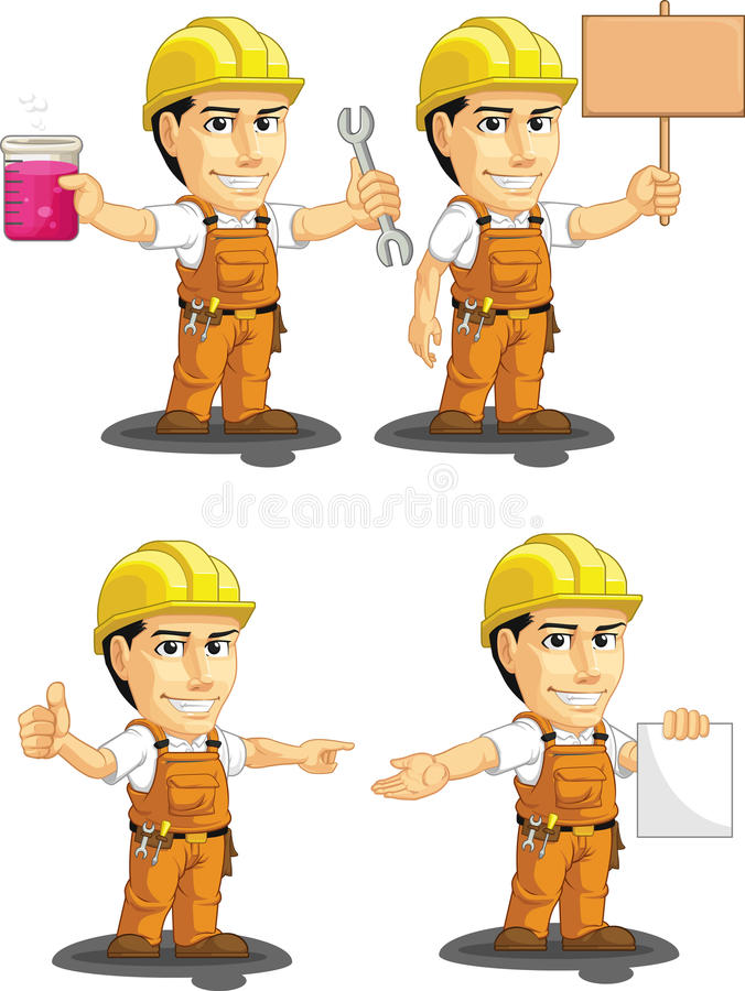 Download Industrial Construction Worker Customizable Mascot Stock Vector - Illustration: 34692213