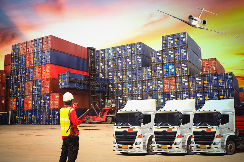 Industrial Container Cargo freight ship for Logistic Import Expo royalty free stock photography
