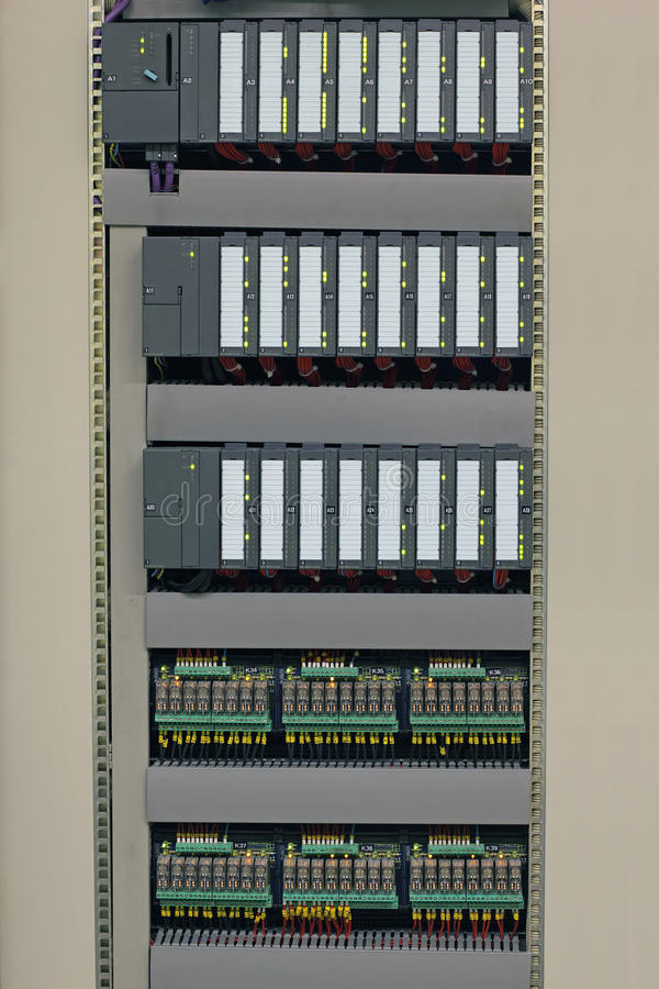 Industrial controllers and relays royalty free stock image