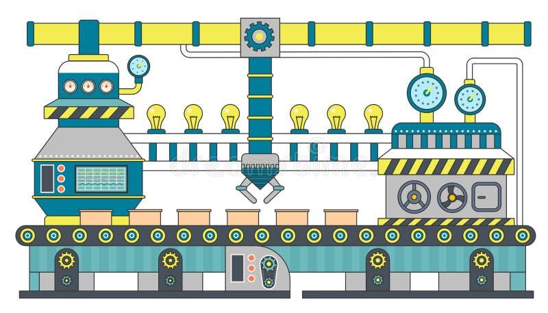 Industrial conveyor belt line flat vector illustration. Conveyor process production, conveyor with machinery robot. royalty free illustration