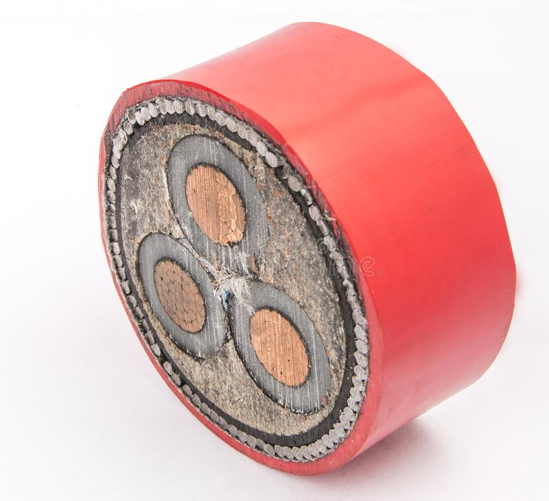 Cross section of low-voltage cable. Cross section of high-voltage cable. Thick copper veins are surrounded by a thick layer of polymer insulation steel tape stock image
