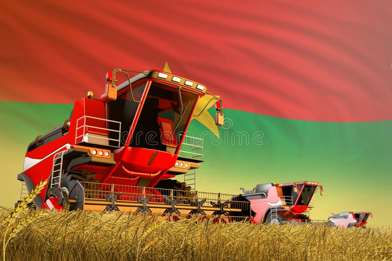 Industrial 3D illustration of agricultural combine harvester working on grain field with Burkina Faso flag background, food. Agricultural combine harvester vector illustration