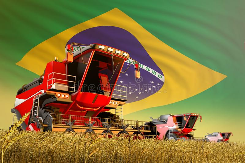 Industrial 3D illustration of agricultural combine harvester working on rural field with Brazil flag background, food production. Agricultural combine harvester royalty free illustration