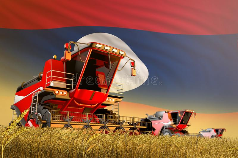 Agricultural combine harvester working on grain field with Lao People Democratic Republic flag background, food production concept. Industrial 3D illustration of stock illustration