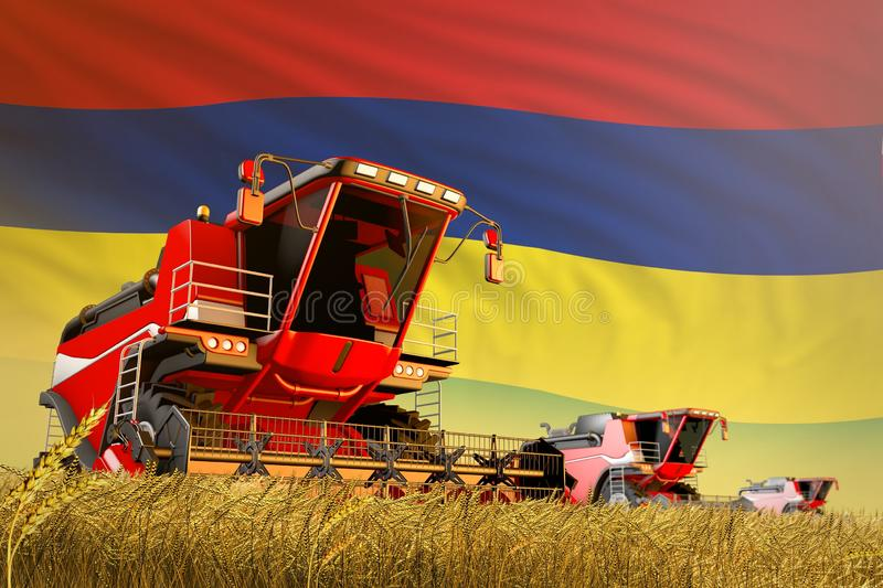 Industrial 3D illustration of agricultural combine harvester working on rural field with Mauritius flag background, food. Agricultural combine harvester working stock illustration