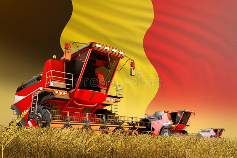 Industrial 3D illustration of agricultural combine harvester working on rye field with Belgium flag background, food production. Agricultural combine harvester royalty free illustration