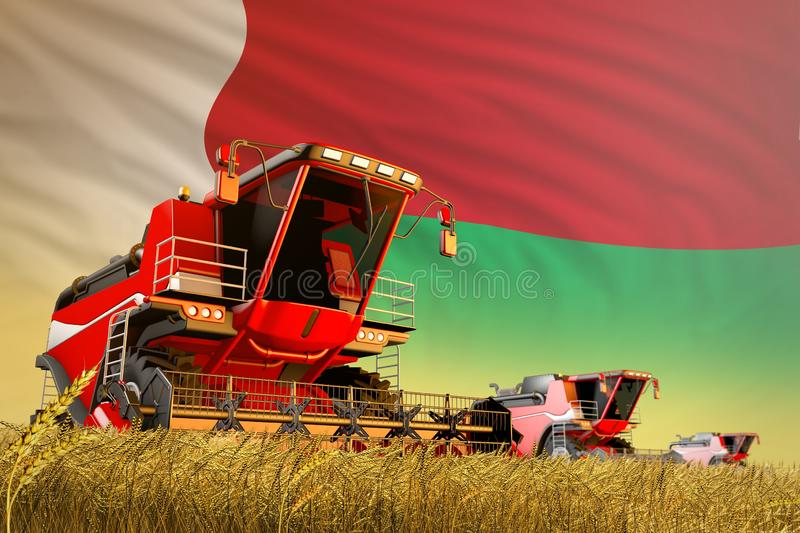Industrial 3D illustration of agricultural combine harvester working on rye field with Madagascar flag background, food production. Agricultural combine vector illustration