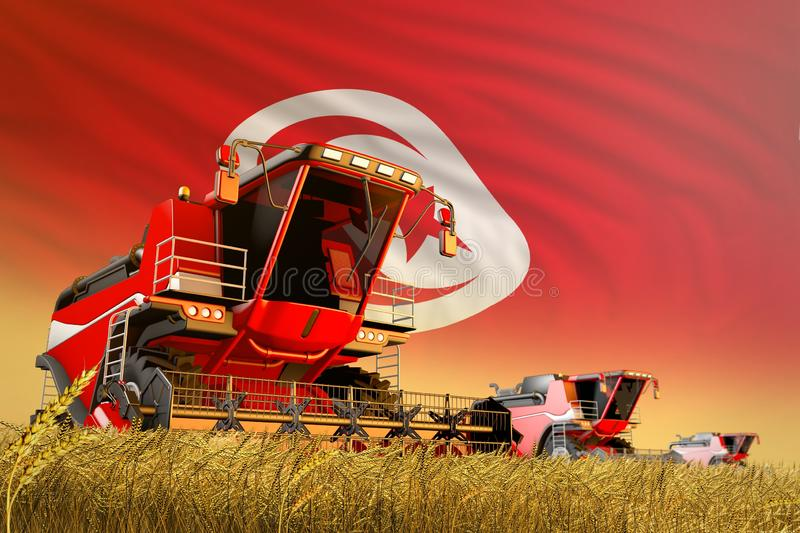 Industrial 3D illustration of agricultural combine harvester working on rye field with Tunisia flag background, food production. Agricultural combine harvester stock illustration