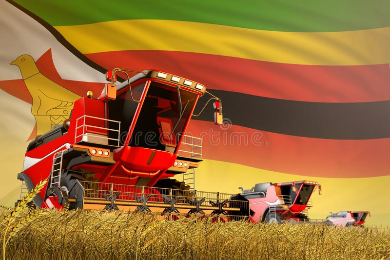 Agricultural combine harvester working on wheat field with Zimbabwe flag background, food production concept - industrial 3D. Industrial 3D illustration of stock illustration