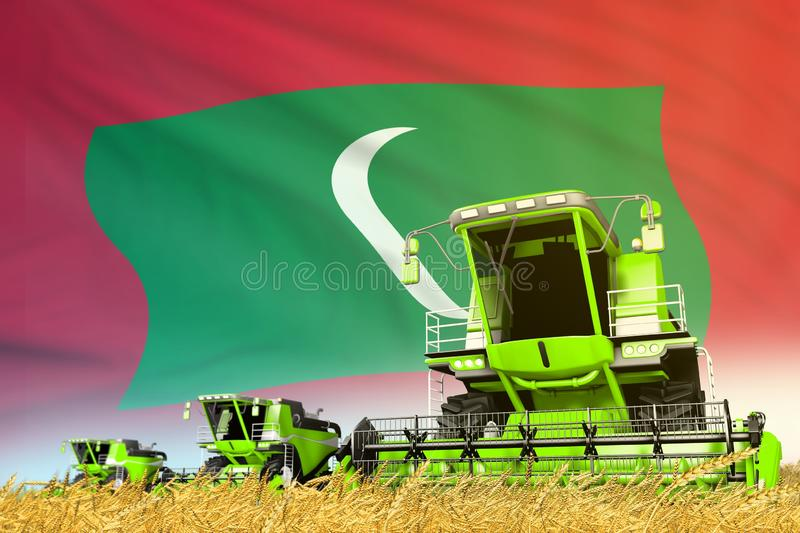 Green farm agricultural combine harvester on field with Maldives flag background, food industry concept - industrial 3D. Industrial 3D illustration of green stock photos