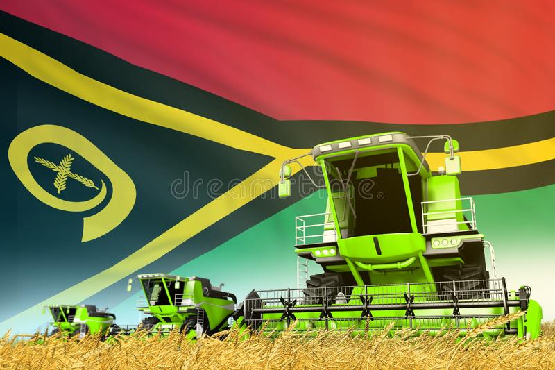 Industrial 3D illustration of green rural agricultural combine harvester on field with Vanuatu flag background, food industry. Green farm agricultural combine vector illustration