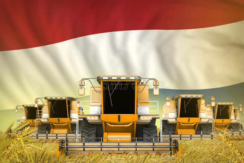 Industrial 3D illustration of some yellow farming combine harvesters on rye field with Netherlands flag background - front view,. Some yellow farming combine royalty free illustration