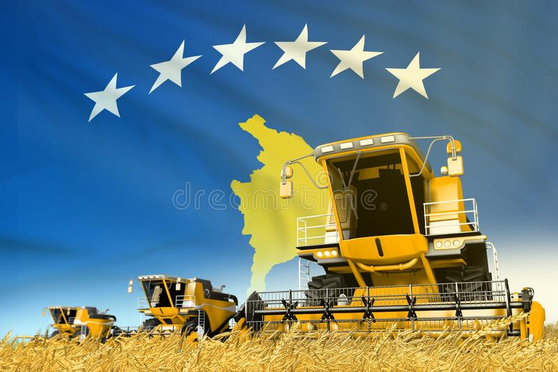 Yellow grain agricultural combine harvester on field with Kosovo flag background, food industry concept - industrial 3D. Industrial 3D illustration of yellow vector illustration
