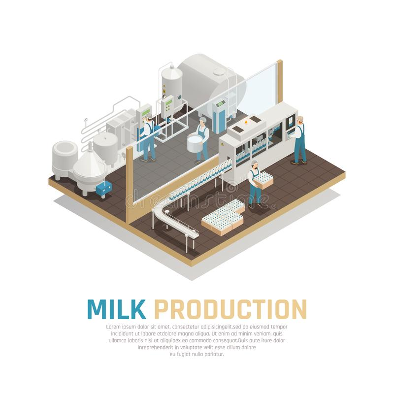 Industrial Dairy Production Background vector illustration