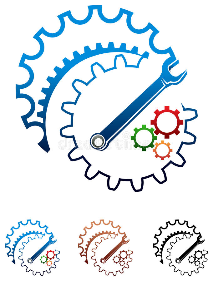 Industrial design. Gearwheel with spanner isolated illustrated logo design royalty free illustration