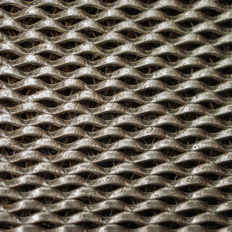 Industrial Design And Hygiene Concept: Macro Image Of A Greasy Aluminum Mesh Filter For Cooker Hood, Kitchen Exhaust Fan Filter stock photos