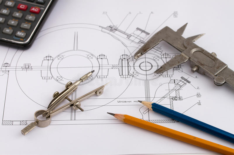 Industrial drawing and tools royalty free stock photos