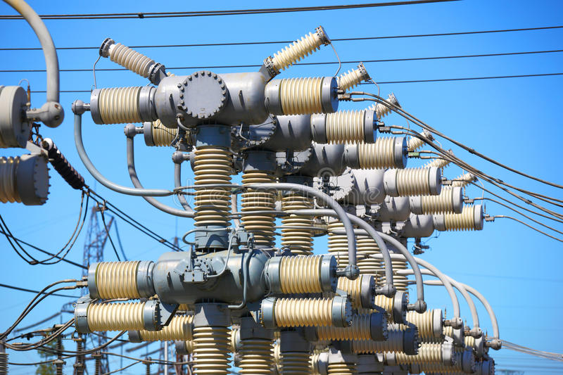 Industrial electric equipment. Sale and electricity generation. stock image